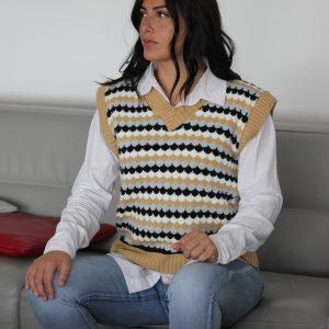Gilet femme en laine avec chemise